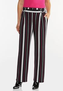 Petite Pink Stripe Wide Leg Pants