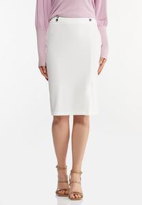 Plus Size Silver Button Pencil Skirt