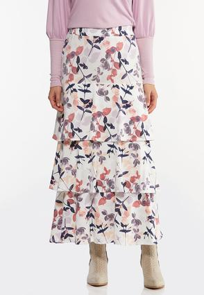 Plus Size Tiered Floral Maxi Skirt