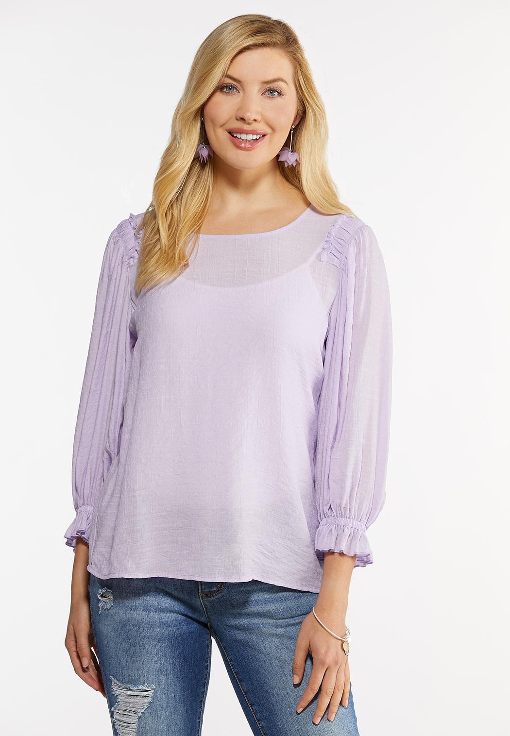Lavender Ruffled Sleeve Top