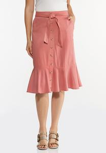 Flounced Button Front Skirt