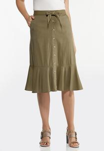 Plus Size Flounced Button Front Skirt