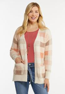Pink Plaid Cardigan Sweater