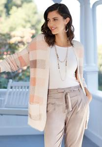 Plus Size Pink Plaid Cardigan Sweater
