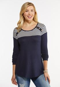 Plus Size Colorblock Stripe Hacci Top
