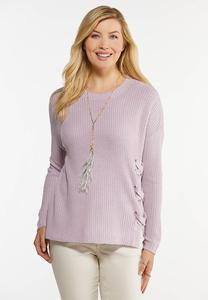 Lavender Lace Up Sweater