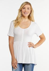 Solid Button Front Babydoll Top