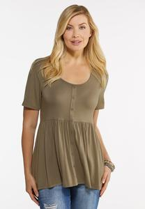 Plus Size Solid Button Front Babydoll Top