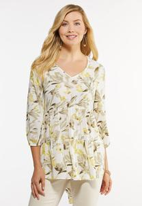 Plus Size Yellow Floral Tunic