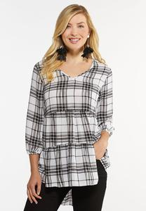 Plus Size Plaid Tiered Tunic