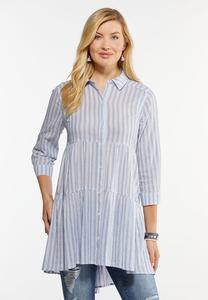Plus Size Navy Stripe Tunic