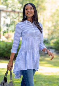 Plus Size Navy Stripe Tunic