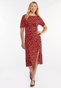 Heart Print Midi Dress