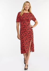 Plus Size Heart Print Midi Dress