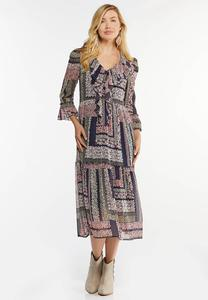 Plus Size Ruffled Patchwork Midi Dress
