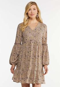 Plus Size Floral Prairie Swing Dress