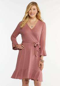 Plus Size Rose Tie Waist Dress