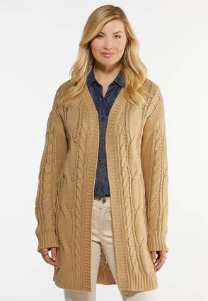 Relaxed Cable Knit Cardigan Sweater