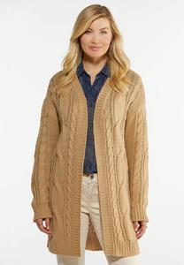 Plus Size Relaxed Cable Knit Cardigan Sweater
