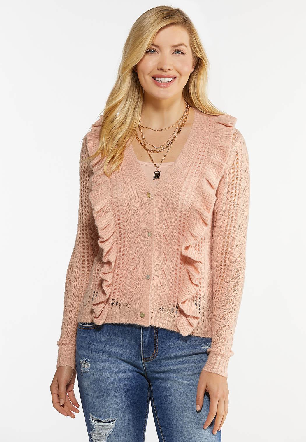 Ruffled Stitch Cardigan Sweater