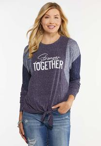 Plus Size Stronger Together Knotted Top