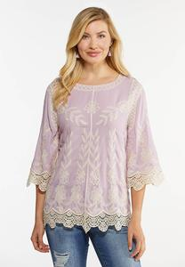 Lavender Embroidered Bell Sleeve Top