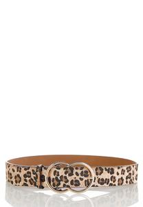 Double Buckle Leopard Belt