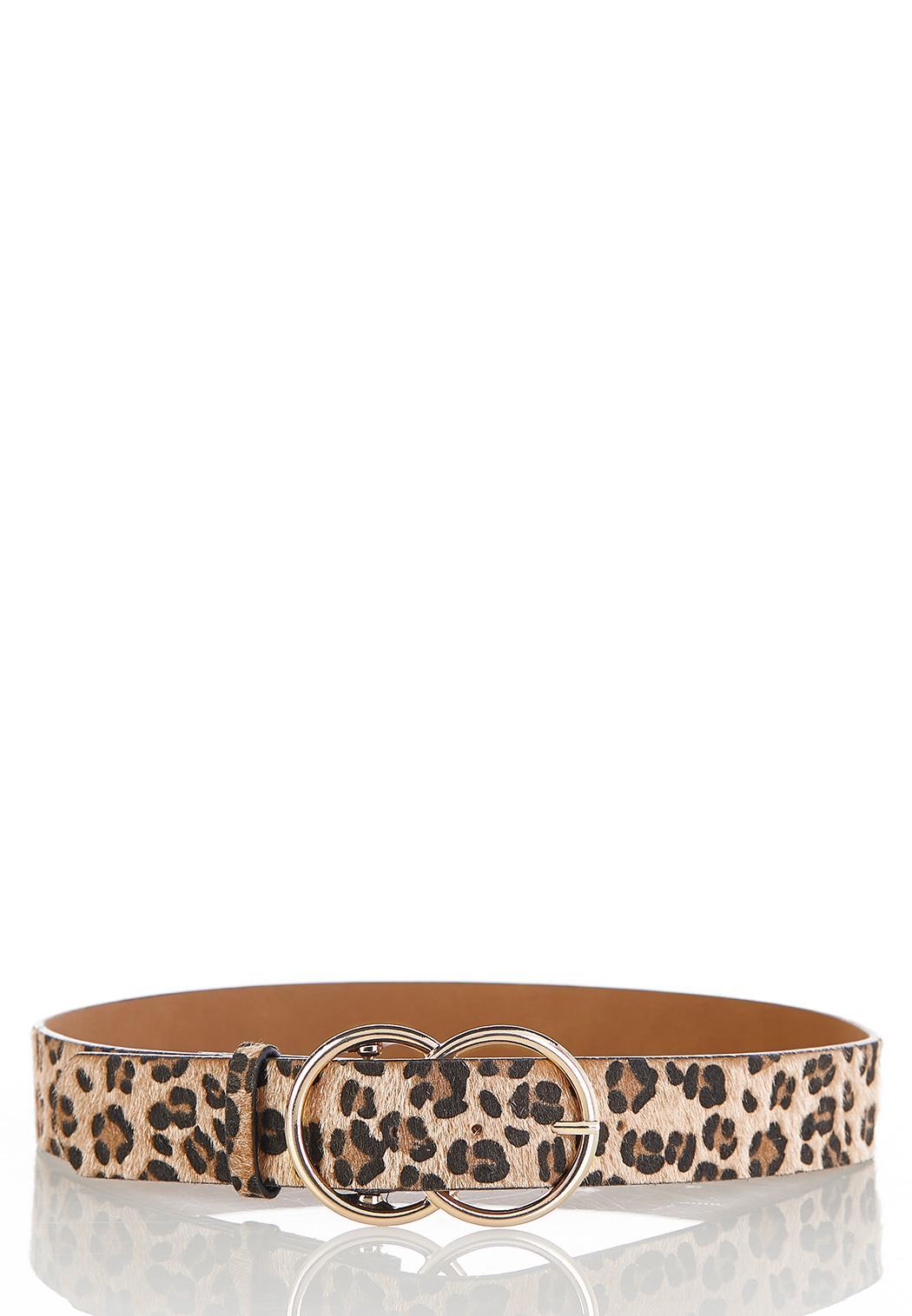 Plus Size Double Buckle Leopard Belt