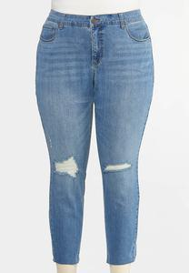 Plus Size Distressed Skinny Ankle Jeans