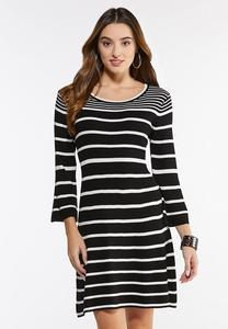 Plus Size Striped Bell Sleeve Sweater Dress