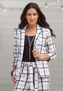 Plus Size Contrast Plaid Blazer