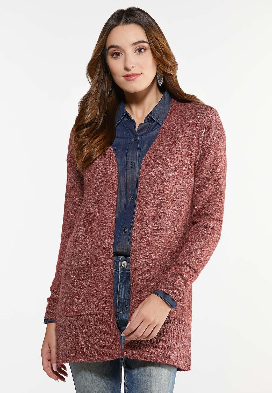Plus Size Space Dye Cardigan Sweater