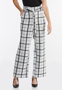 Plaid Paperbag Trouser Pants