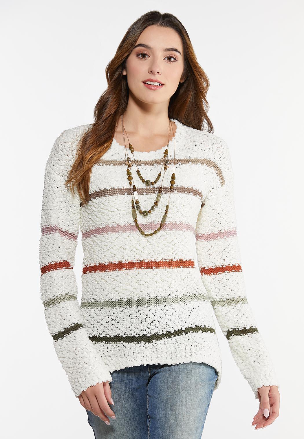 Plus Size Striped Popcorn Sweater