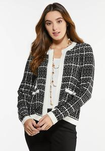 Checkered Pearl Button Sweater