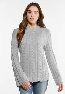 Distressed Trim Sweater