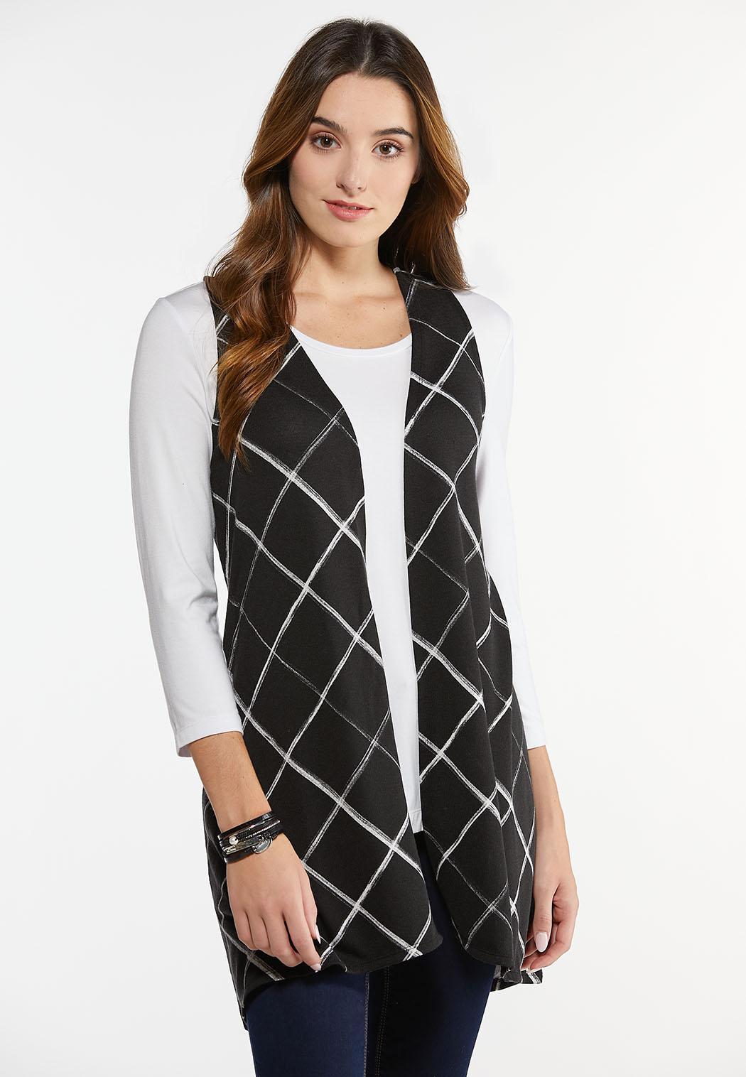 Plus Size Diamond Check Hacci Vest