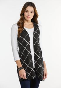Plus Size Diamond Check Hacci Vest