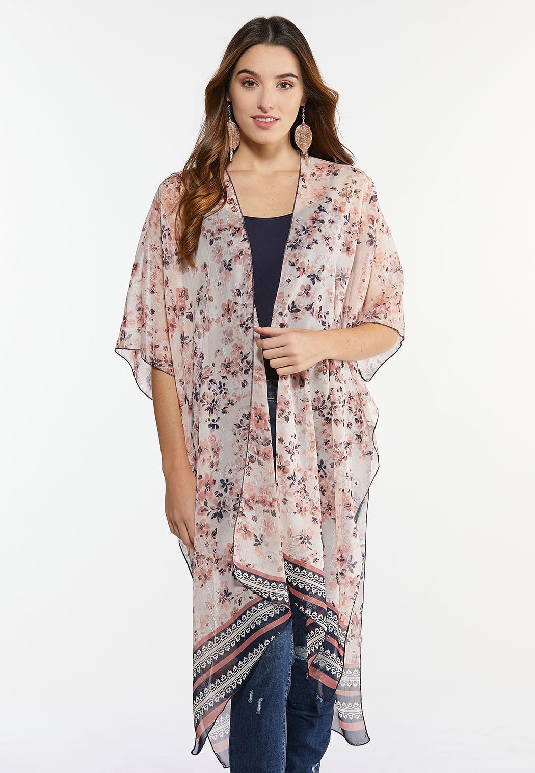 Metallic Thread Floral Kimono