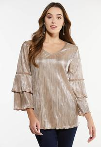 Plus Size Metallic Tiered Sleeve Top