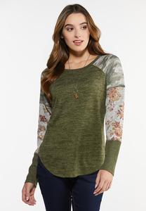 Plus Size Camo Floral Baseball Top