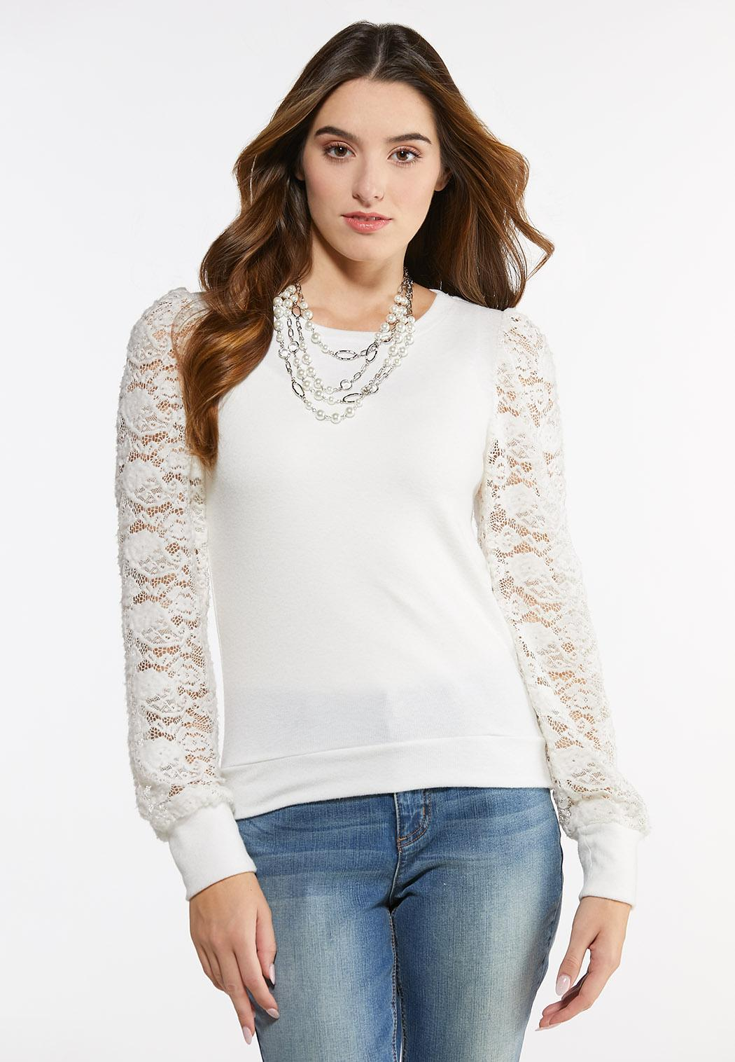 Lace Sleeve Hacci Top