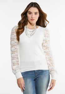 Plus Size Lace Sleeve Hacci Top