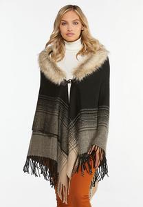 Fur Collar Sweater Poncho