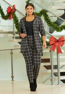 Plus Size Plaid Faux Leather Trim Pants