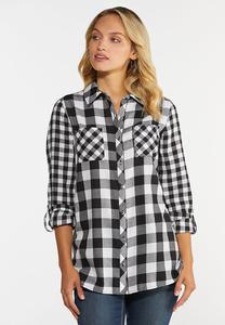 Plus Size Black And White Plaid Shirt