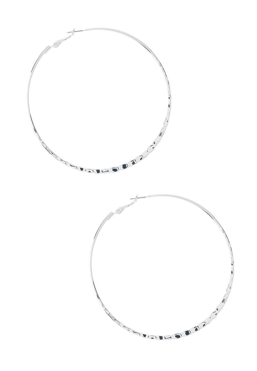 Flat Hammered Hoop Earrings
