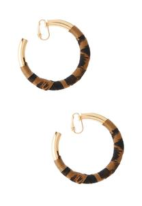 Animal Print Hoop Clip-On Earrings