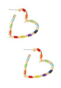 Rainbow Stripe Heart Earrings