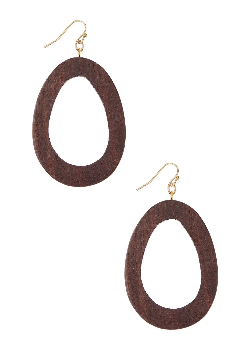 Wooden Oval Earrings